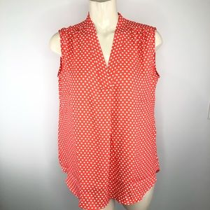 🌟JONES NEW YORK-Coral sleeveless polka dot top L